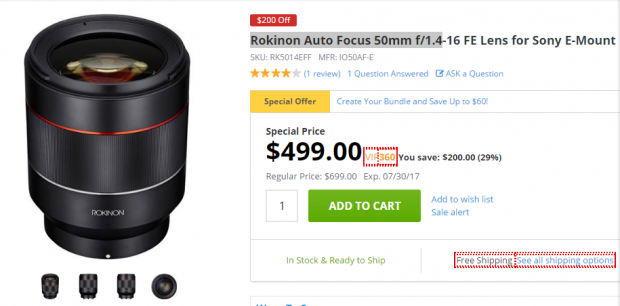 Rokinon 50mm F1.4 auto lens deal