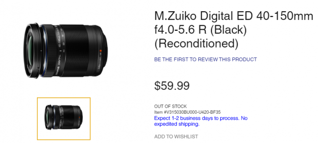 Hot Deal: Reconditioned Olympus M. 40-150mm F4.0-5.6 R Zoom Lens for $59.99