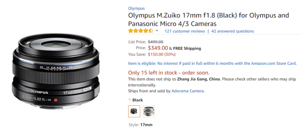 Olympus M.Zuiko 17mm f1.8 deal