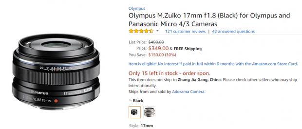 Olympus M.Zuiko 17mm f1.8 deal