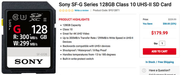 Hot Deal: $70 Off on Sony SF-G 128GB card