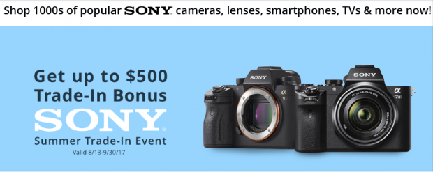 <span style='color:#dd3333;'>Hot Deals: Up to $500 Trade-In Bonus on Sony Mirrorless Cameras</span>
