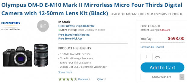 Hot Deal: Olympus OM-D E-M10 Mark II  with 12-50mm Lens Kit for $698