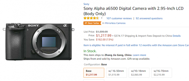Hot Deal: Sony A6500 for $1,217.99 at Amazon!
