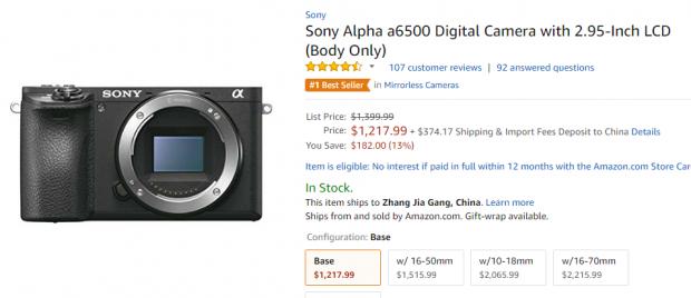 Sony A6500 deal