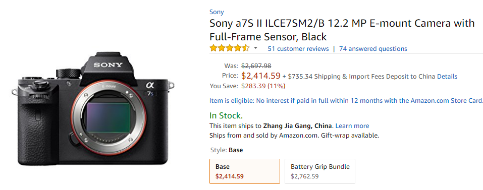 <span style='color:#dd3333;'>Hot Deal: Sony Alpha a7S II for $2,414.59 at Amazon!</span>