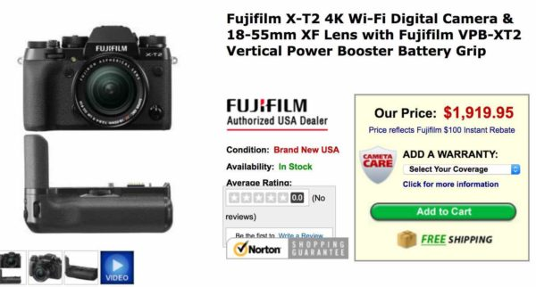 Hot Deal: Fujifilm X-T2 w/18-55mm Lens and Vertical Grip for $1,919.15