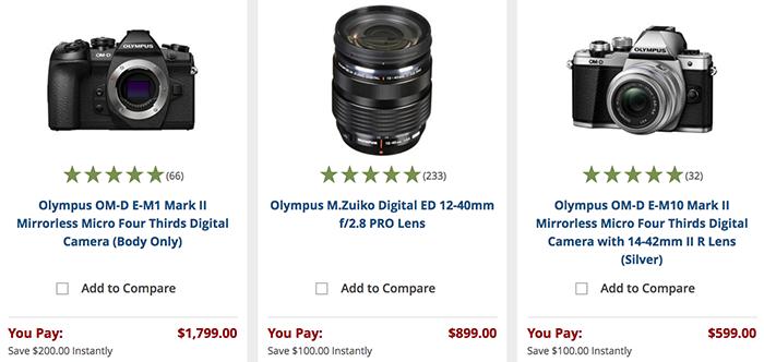 Olympus camera and lens deals