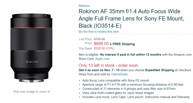 Hot Deal: $100 Off on Rokinon AF 35mm F1.4 FE Lens