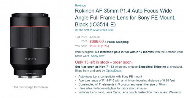 Hot Deal: $100 Off on Rokinon AF 35mm F1.4 FE Lens