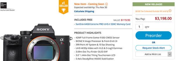 Sony A7rIII deal