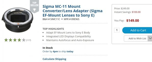 Hot Deal: Sigma MC-11 Mount Converter/Lens Adapter for $149
