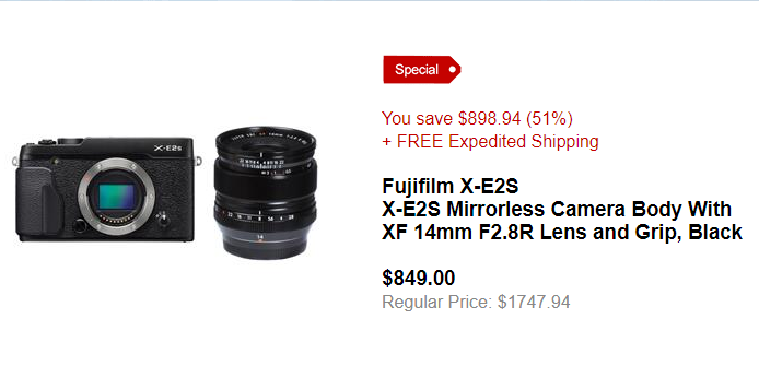 <span style='color:#dd3333;'>Hot Deal: Fujifilm X-E2S With XF 14mm F2.8R Lens and Grip for $849</span>