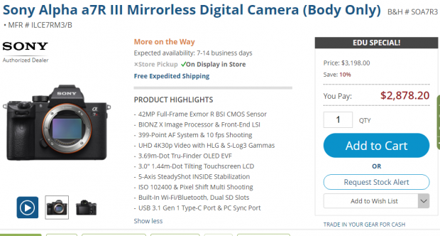 Sony a7r III deal