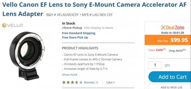 Vello Canon EF to Sony E mount adapter