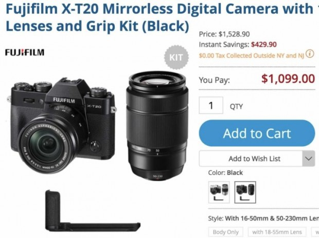 Hot Deal: Save $429 on Fujifilm X-T20 Double Kit Lenses