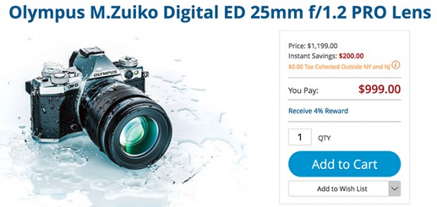 Hot Deals: Olympus M.Zuiko Digital ED 25mm f/1.2 PRO for $999