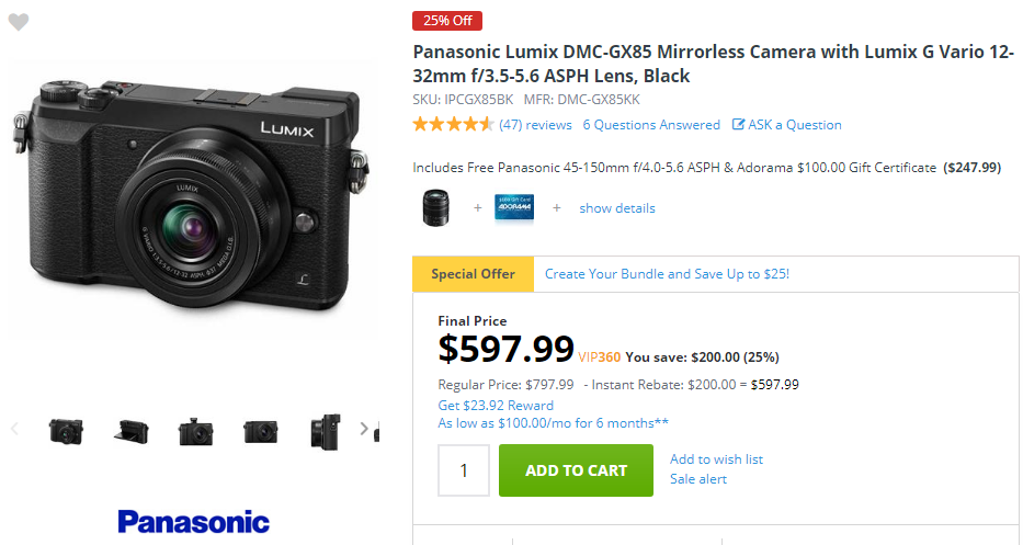 Panasonic GX85 deals
