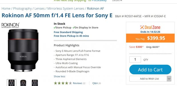 Today Only Hot Deal: Rokinon AF 50mm f/1.4 FE Lens for $399.95 at B&H!