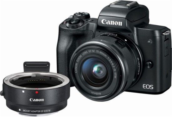 Hot Deal: Canon EOS M50 with EF-M 15–45mm Lens and Mount Adapter for $749.98