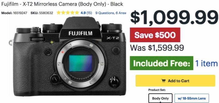 Hot Deal: Fujifilm X-T2 for $1,099!