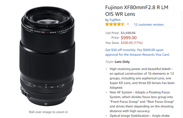 Hot Deal: Fujifilm XF 80mm f/2.8 R LM OIS WR Macro Lens for $999!