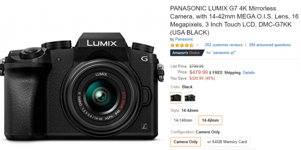 Hot Deal: Panasonic Lumix DMC-G7 with 14-42mm Lens Kit for $479.99