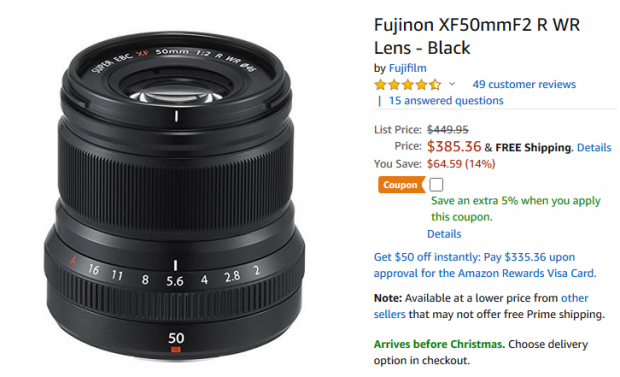 Hot Deal: Fujifilm XF 50mm F2 R WR Lens for $385.36 at Amazon