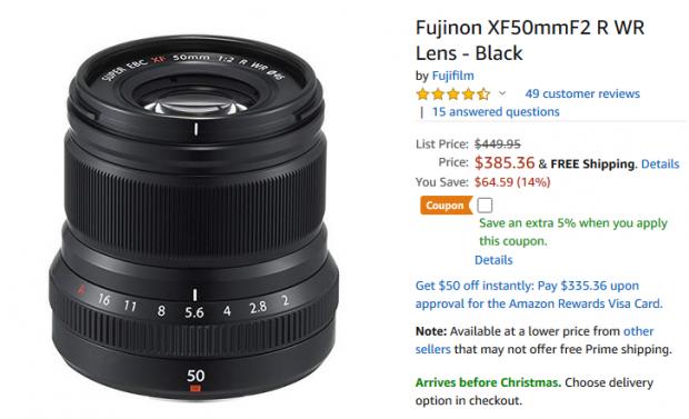Fujifilm XF 50mm F2 lens deal