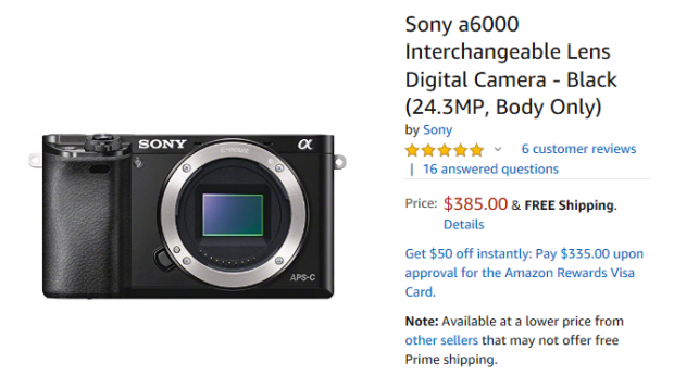 Hot Deal: Sony A6000 for $385 at Amazon!