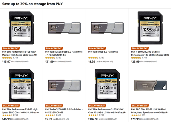 Hot Deals: Save up to 73% on Storage From PNY at Amazon