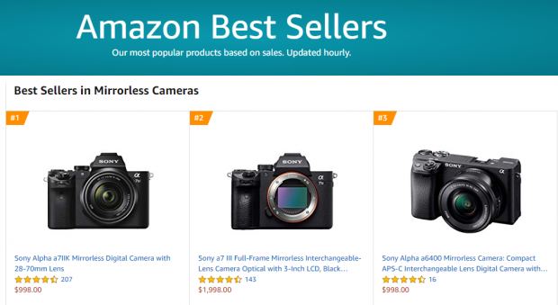 Best Seller in Mirrorless Cameras: Sony A7 II w/28-70mm Kit