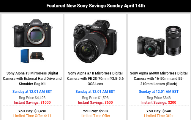 Super Hot Deals: Up to $1,000 Off on Sony A9, $400 Off on Sony A7R III, A7R II and More!