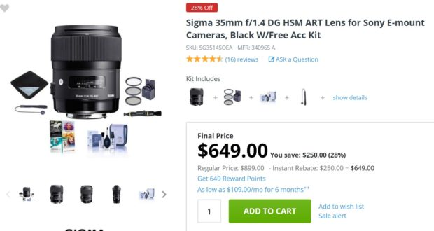 Hot Deal: Sigma 35mm f/1.4 DG HSM Art Lens for Sony E for $649!