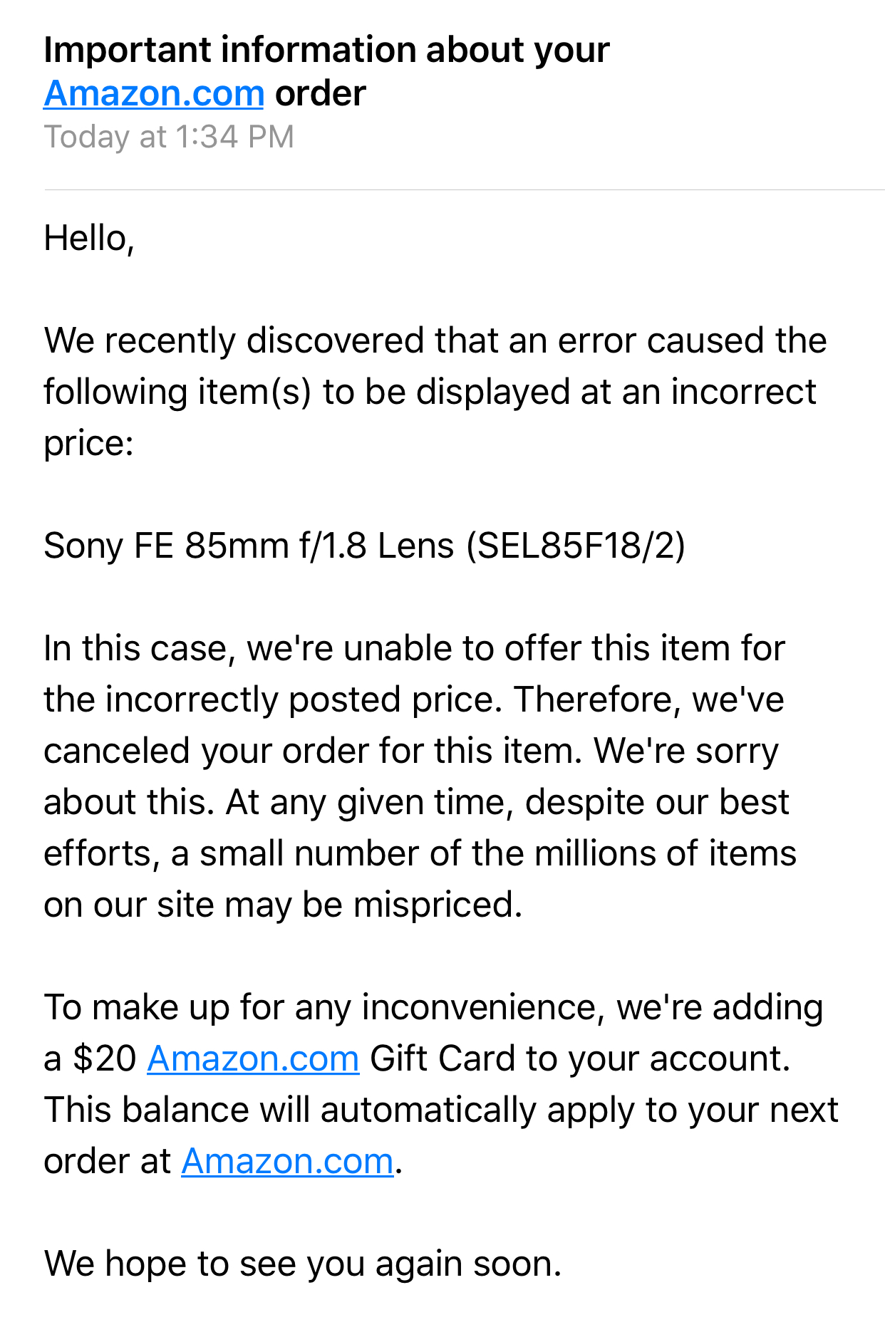 Amazon Canceled the Orders for $249 Sony 85mm F1.8 FE Lens