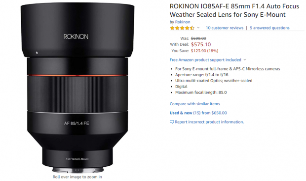 Hot Deal: Rokinon AF 85mm F1.4 FE Lens for $575.10 at Amazon!
