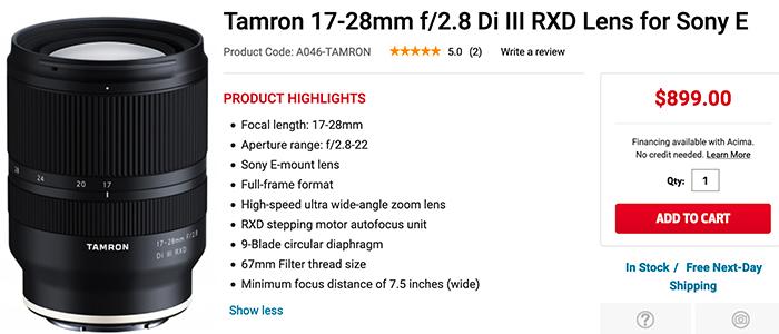 Tamron 17-28mm F2.8 Di III RXD lens in stock