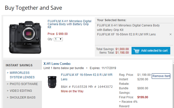 Hot Deal: Fujifilm X-H1 w/ Battery Grip + 16-55mm f/2.8 R LM WR Lens for $1,198!