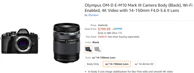 Hot Deal: Olympus OM-D E-M10 Mark III w/14-150mm F4.0-5.6 II for $799.99!