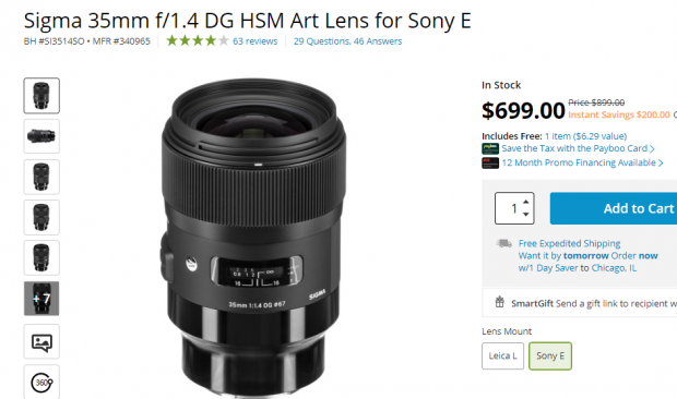 Sigma 35mm F1.4 DG for Sony E