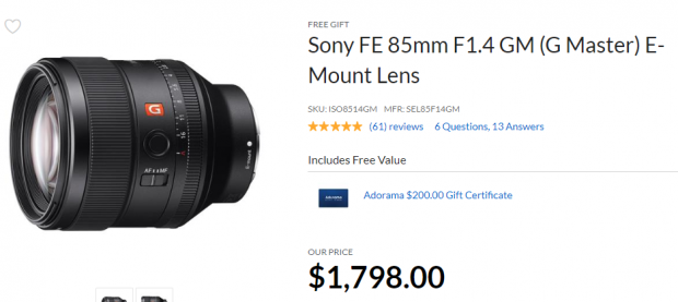 Hot Deals:  Free $200 Gift Card on Sony FE GM Lenses at Adorama