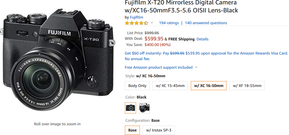 Hot Deal: Fujifilm X-T20 with 16-50mm Lens Kit for $599 at Amazon!