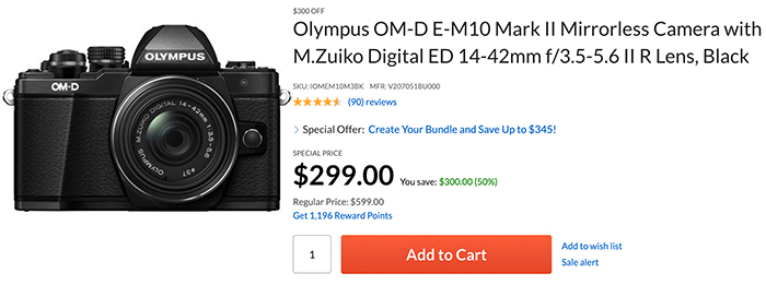 Hot Deal: Olympus E-M10 Mark II with Kit Lens for $299!