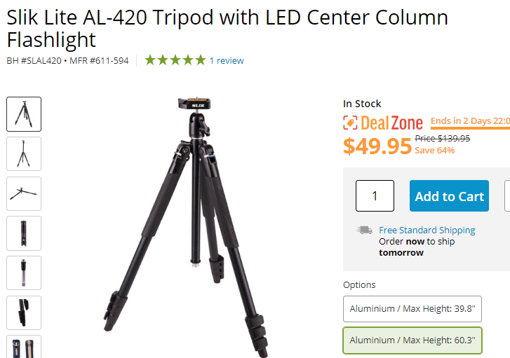 Hot Deal: Slik Lite AL-420 Tripod with LED Center Column Flashlight for $49.95!