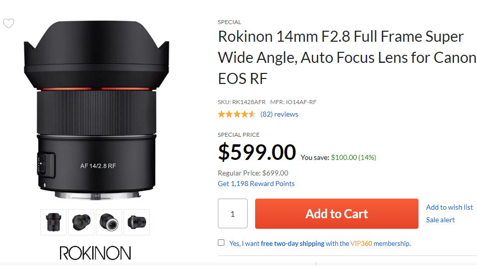 Hot Deal: Rokinon AF 14mm F2.8 Lens for Canon RF for $599 at Adorama!