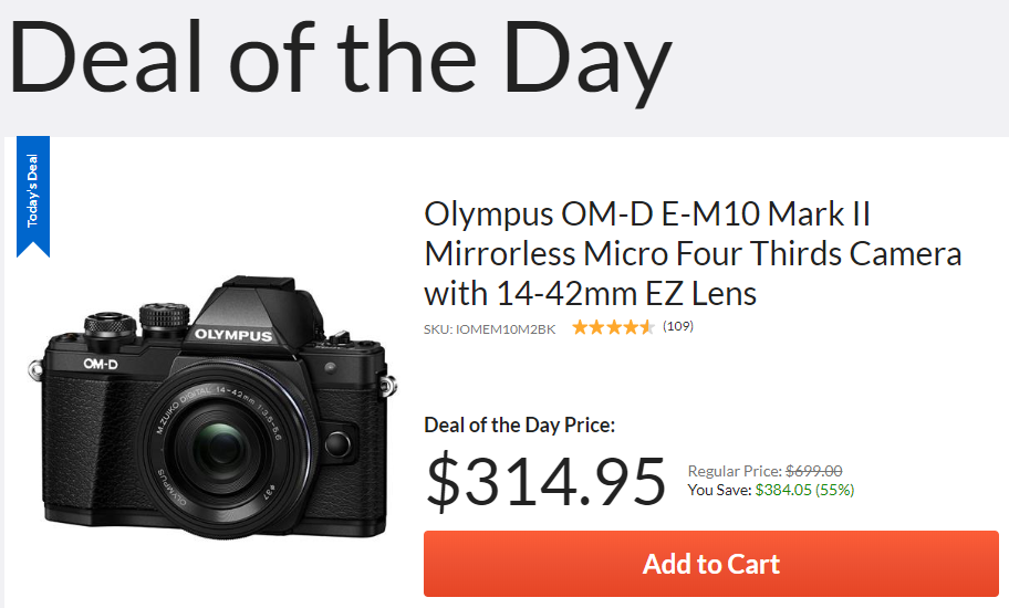 Hot Deal: Olympus OM-D E-M10 Mark II with 14-42mm EZ Lens for $314.95