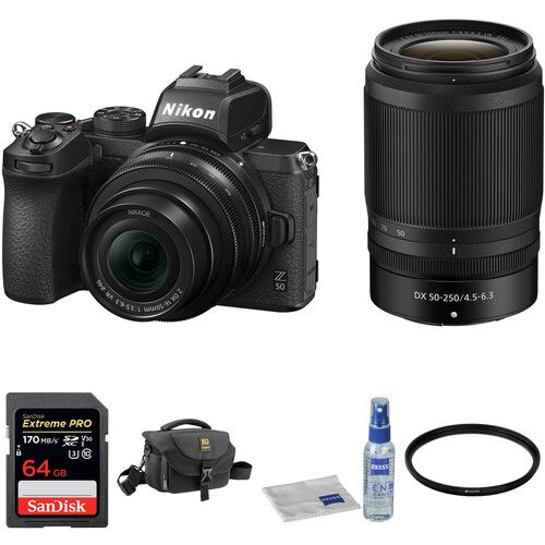 Hot Deal: Nikon Z 50 with 16-50mm and 50-250mm Lenses and Accessories Kit for $1,096.95