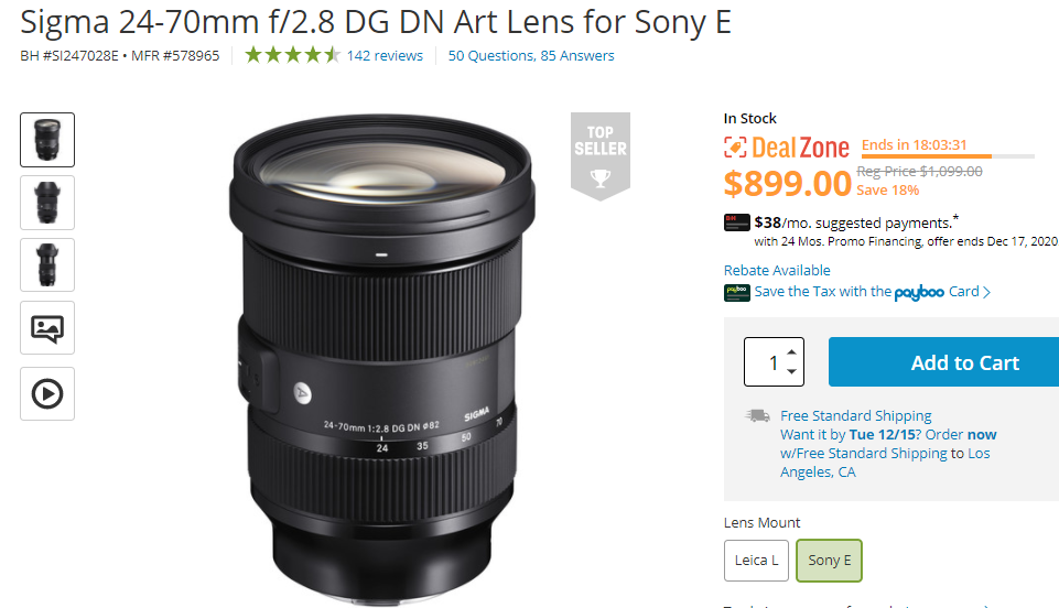 Hot Deal: Sigma 24-70mm f/2.8 DG DN Art Lens for $899!