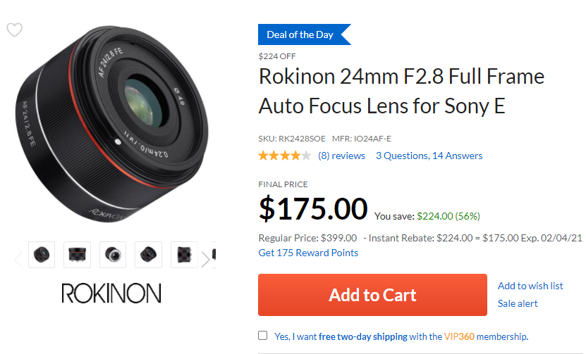 Hot Deal: Rokinon 24mm F2.8 FE AF Lens for $175!