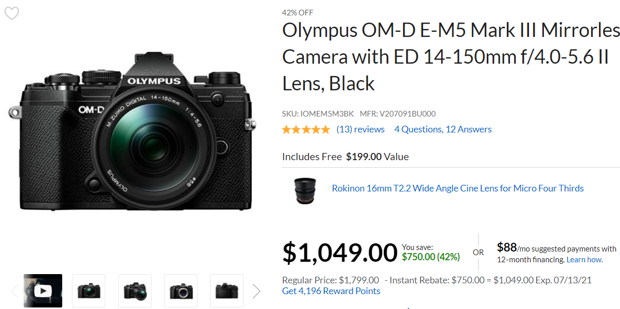 Hot Deal: Olympus OM-D E-M5 Mark III with ED 14-150mm f/4.0-5.6 II Lens for $1,049!
